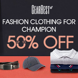 Gearbest Up to 50% OFF for Apparel & Fashions promotion