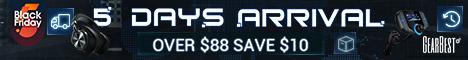 Gearbest Envío rápido: llega en 5 días y 10$ de descuento en pedidos superiores a 88$