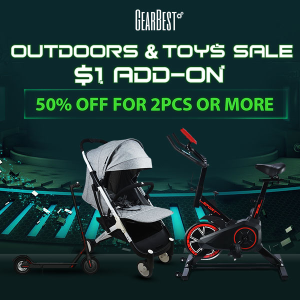 Gearbest Outdoors and Toys Sale: $1 Add-ons promotion