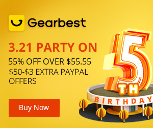 Gearbest 3.21 5th Gearbest Anniversary Party On: 55% OFF Over $55.55 promotion