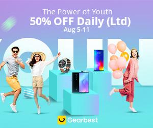 Gearbest O Poder de Juventude : 50% de desconto diária promotion