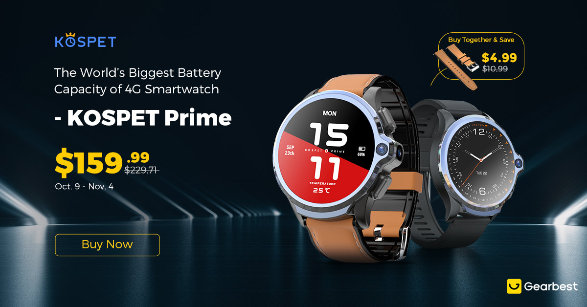 Gearbest KOSPET Prime 4G Smart Watch Phone:Low As $159.99. promotion