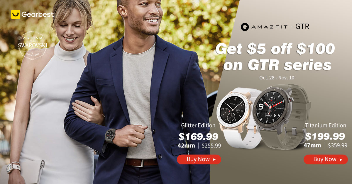 Gearbest AMAZFIT GTR:Get $5 Off Over $100 On GTR Series. promotion