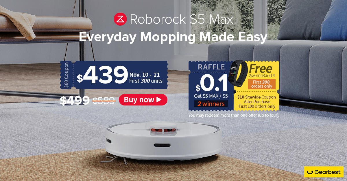 Gearbest Global Launch:Roborock S5 Max Laser Navigation Robot Vacuum Cleaner promotion