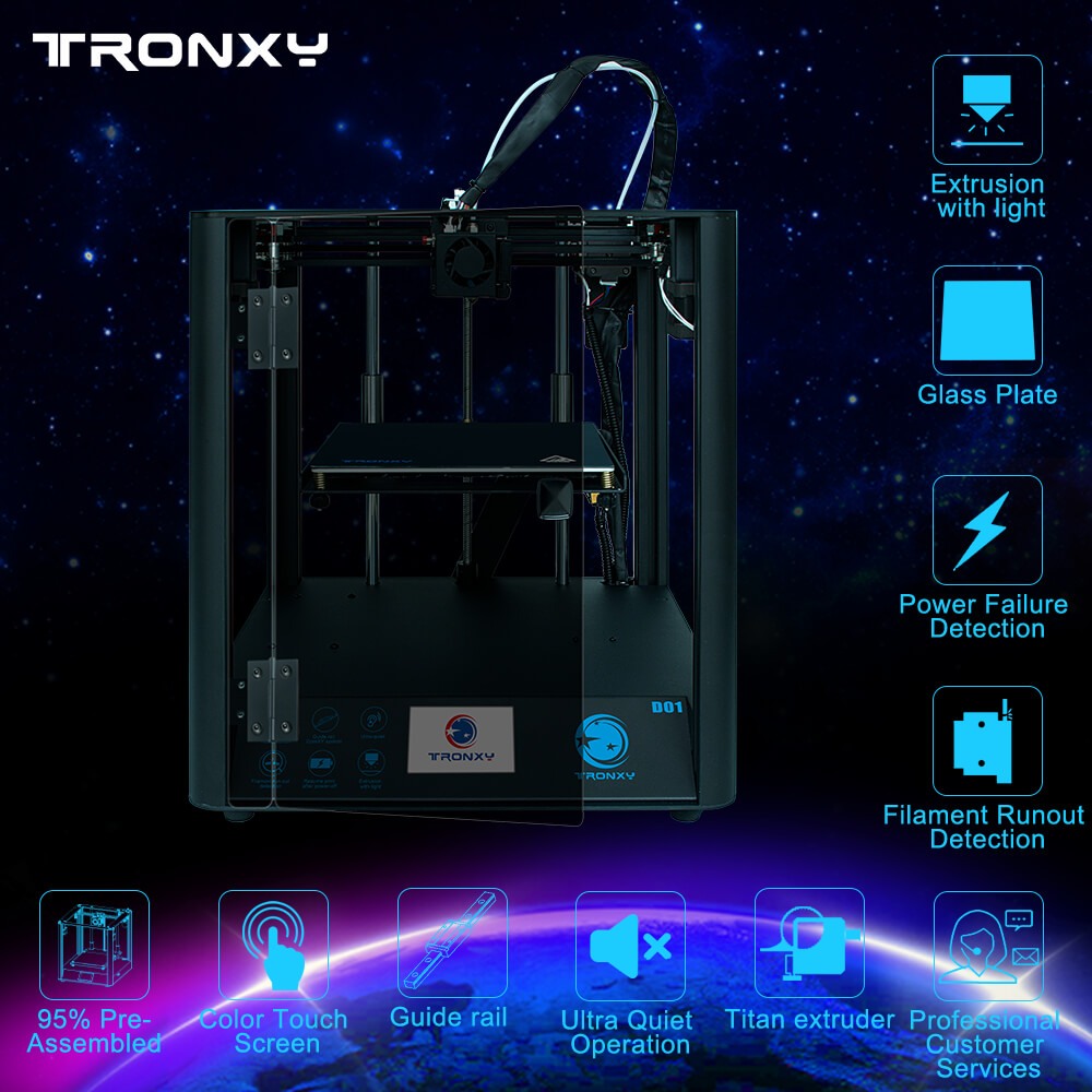 Gearbest Tronxy Industrial Linear Guides D01 3D Printer Ultra-quiet Motherboard can print Flexible filament - D01 Acrylic panel CN promotion