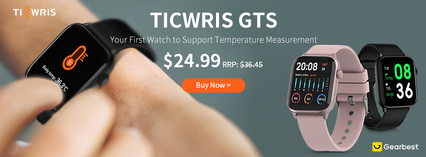 Gearbest TICWRIS GTS Real-time Body Temperature Detect Smart Watch promotion