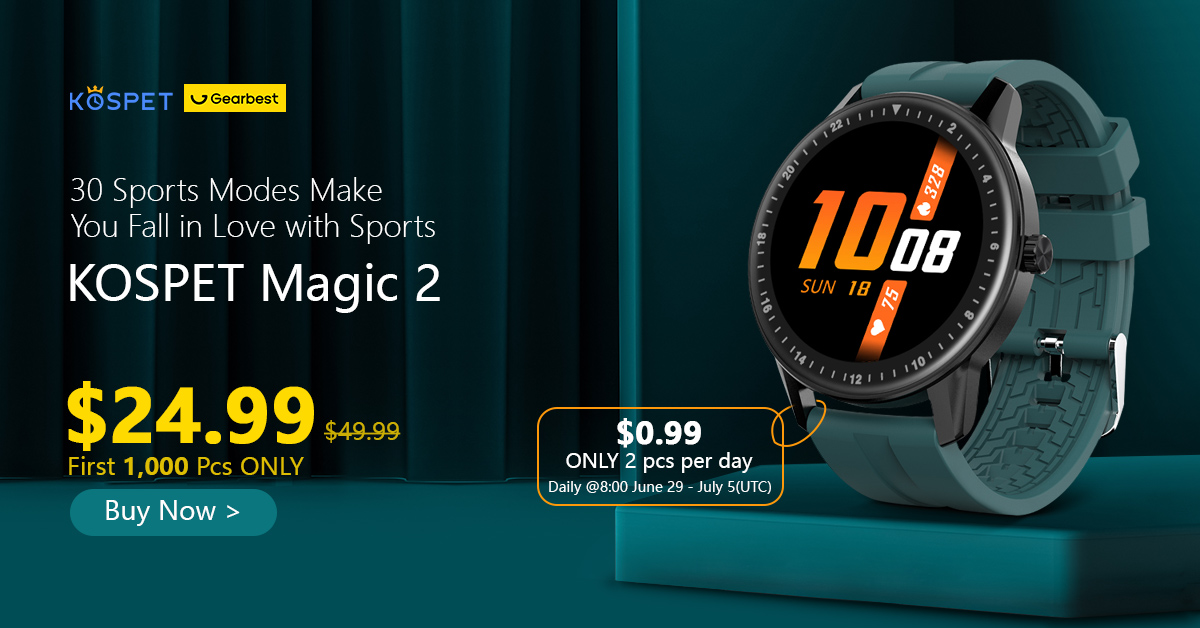 Gearbest Kospet MAGIC 2 1.3 inch Smart Watch 30 Sport Modes HD 360 x 360 Resolution Screen IP67 Waterproof Bluetooth 4.0