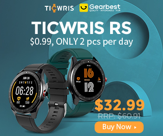 Gearbest TICWRIS RS Smart Watch 1.3 inch Ultra-thin 9mm 50 Days Standby 31 Sports Modes IP68 Waterproof Bluetooth 5.0 Get One Strap Free - Blac promotion