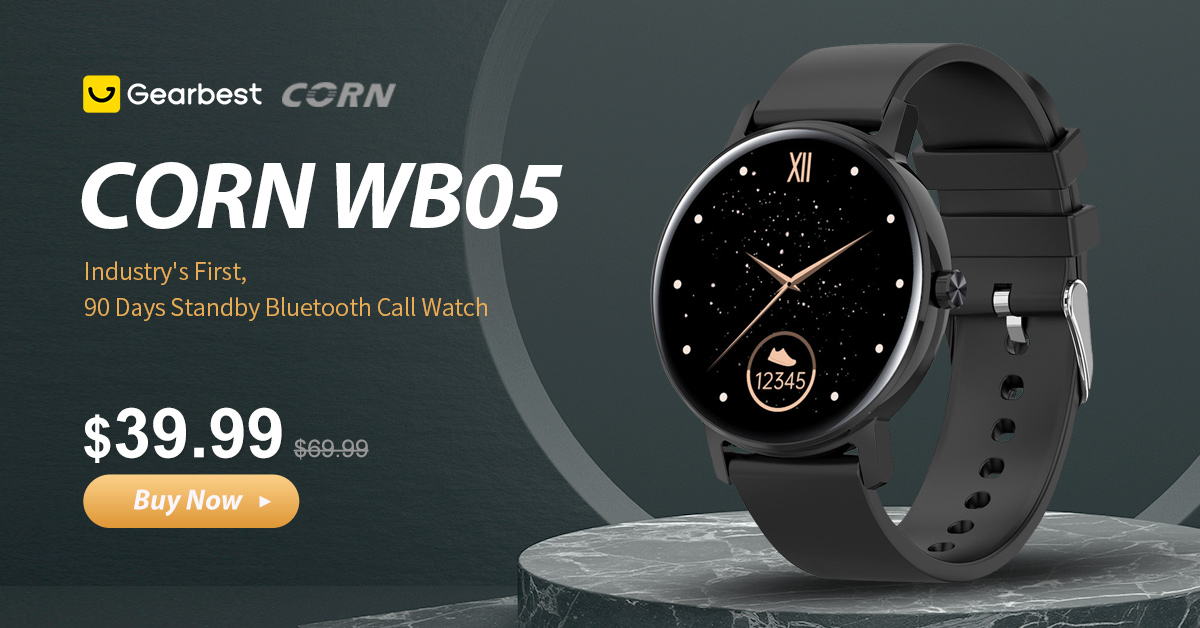 Gearbest CORN WB05 Bluetooth Call Smart Watch 90 Days Standby 1.2 inch 390 x 390 AMOLED Full Touch Screen 8 Sports Modes IP67 Waterproof Smart Watch - Black promotion